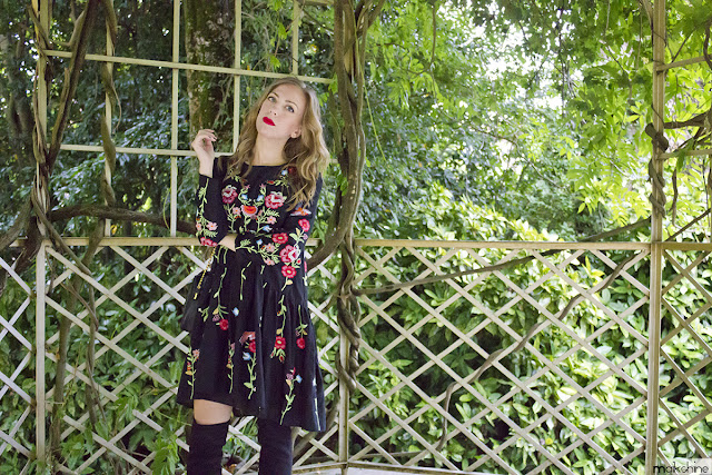 Vestido bordado floral