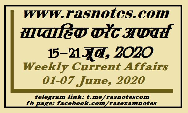 Current Affairs GK Weekly June 2020 (15-21 June) in hindi pdf