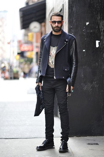 Men's street style: black biker leather jacket with skinny jeans and boots