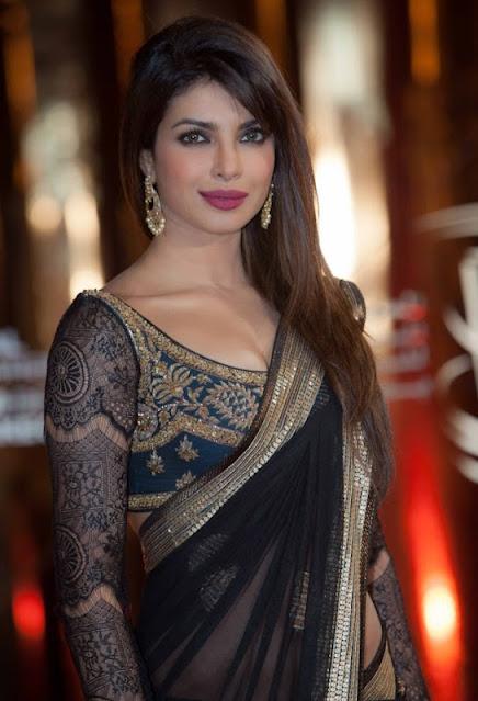 Model Priyanka Chopra Hot Photos in Latest Designer Sarees Navel Queens