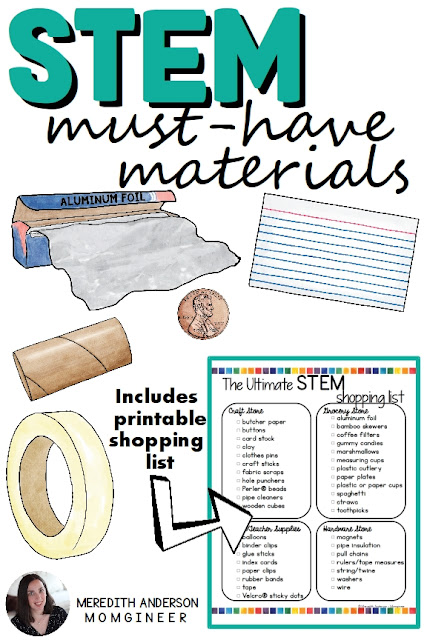 Must-have materials for any STEM challenge! Find out which other items may be useful for you, too, and download the shopping list to keep on hand when you run to your favorite dollar store, craft store, or Target! | Meredith Anderson - Momgineer