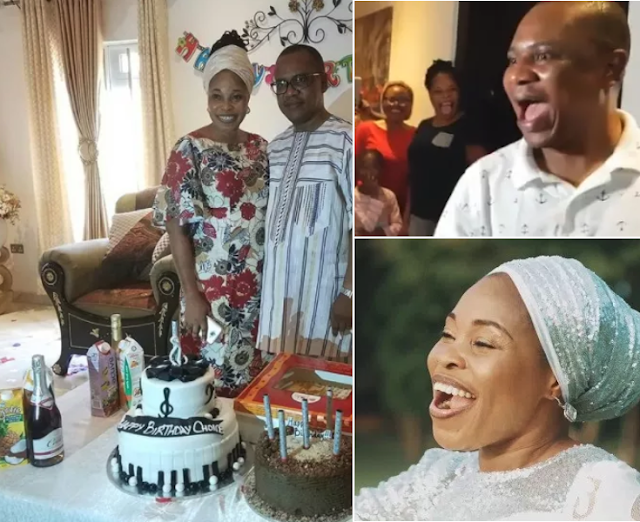 Image result for Tope Alabi throws surprise birthday party for husband