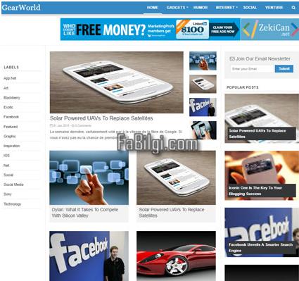 Blogger SEO Uyumlu Teknoloji, Haber Sitesi Teması İndir 2020 GearWorld