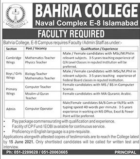 Bahria College Naval Complex Islamabad Jobs 2021 – Jobs in Pakistan 2021