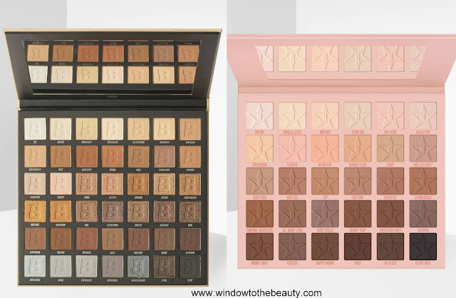 Jeffree Star Cosmetics Orgy palette vs Beauty Bay Nude 42