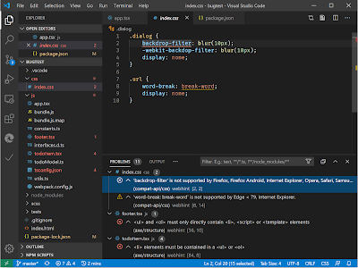 A VSCode editing screen, showing navigation bar, some text, and some hints