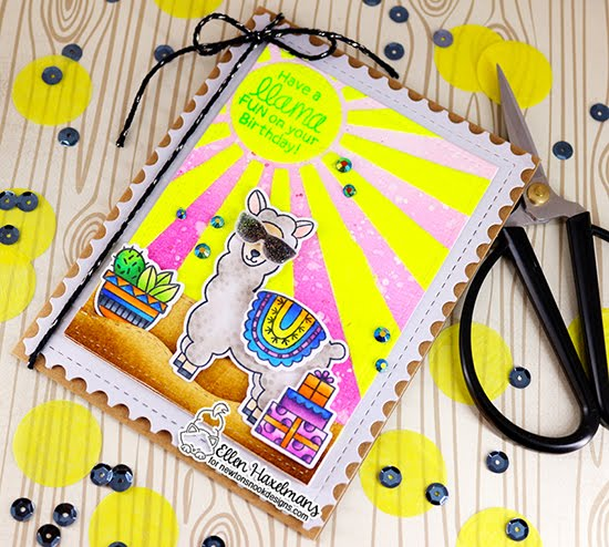 Have a Llama Fun Birthday Card by Ellen Haxelmans | Loveable Llamas, Sunscape Stencil, Land Borders Die Set and Framework Die Set by Newton's Nook Designs #newtonsnook #handmade