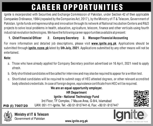 Ministry Of IT & Telecom Ignite National Technology Fund Jobs 2021