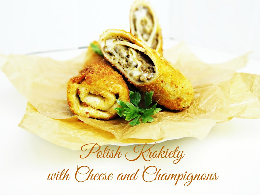 Polish krokiety with cheese and champignons