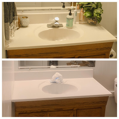 before and after spray painted countertops