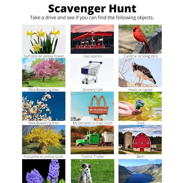 """Sunday"" drive scavenger hunt | scriptureand.blogspot.com"