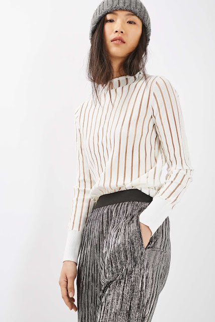 white sheer stripe top