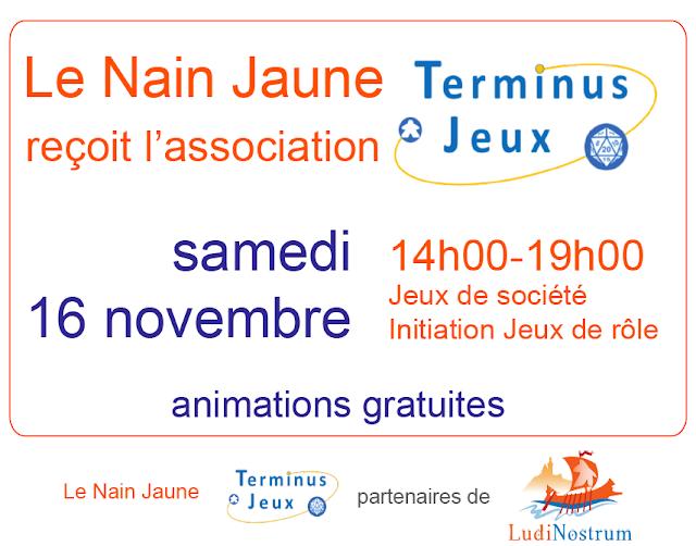 Affiche de Novembre en Jeux avec Terminus Jeux au Nain Jaune