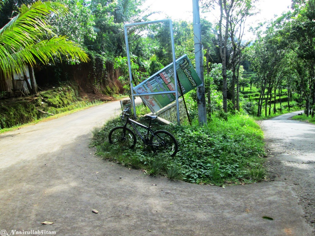Pertigaan dan tikungan tajam menuju Wisata Akar Seribu, Plajan, Jepara