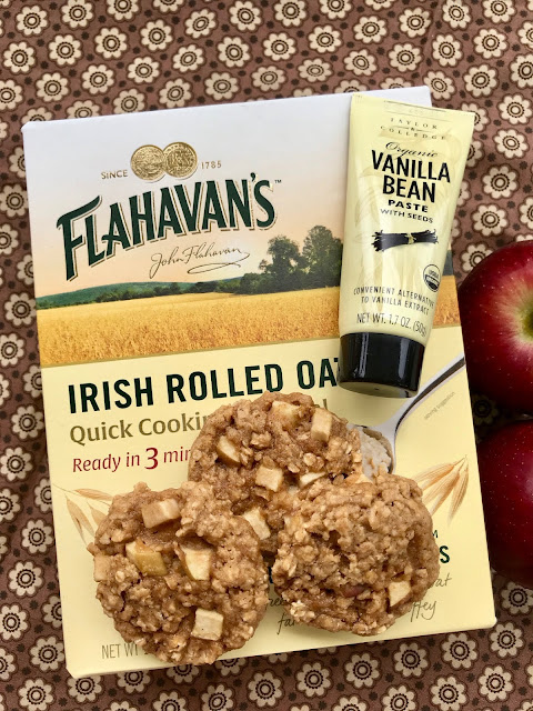 Soft and chewy oatmeal cookies filled with vanilla bean paste and apples make a perfect fall treat.