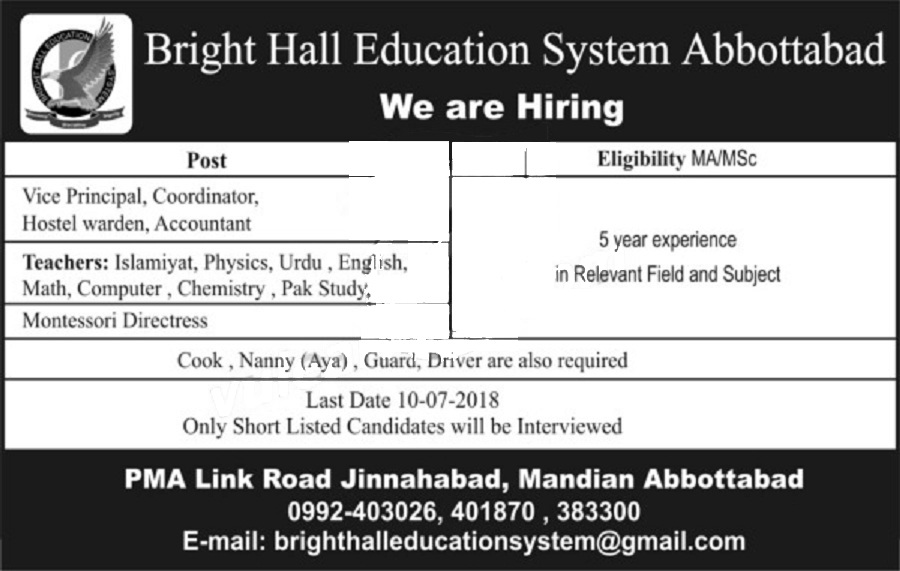 abbotabad jobs july 2018