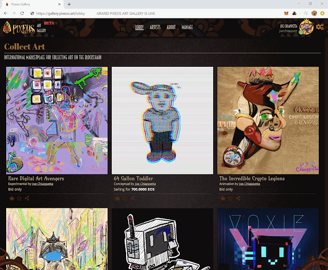 pixEOS Gallery screenshot with art by Joe Chiappetta and other artists