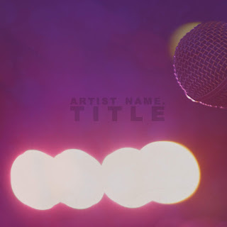 CD cover featuring microphone on stage with bright lights. Purple color with mild tint effects - just visible tint effect - simple text and font - simple background - exclusive design completely royalty free - fully customizable template - unlimited edits when you buy