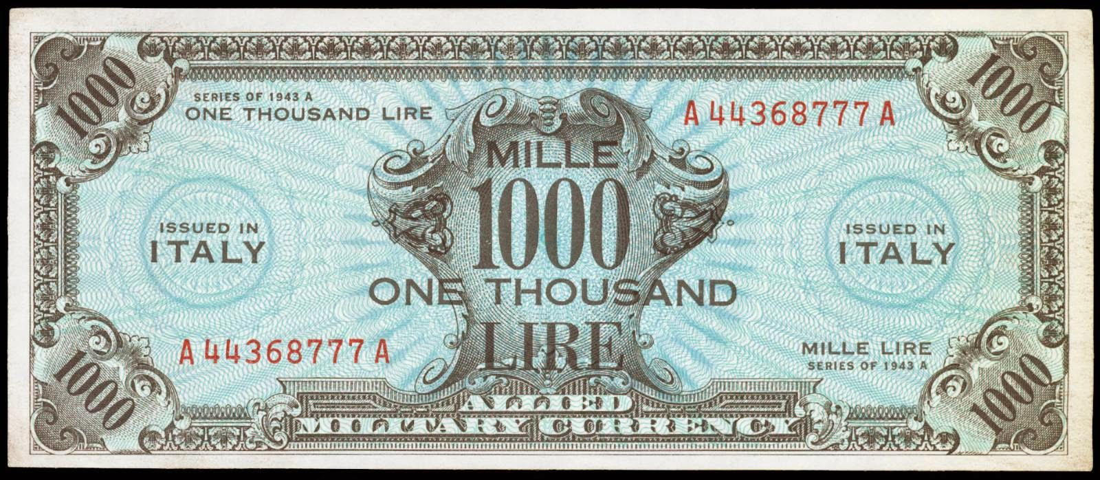Italy 1000 lire 1943 allied military currencyworld banknotes italy 1000 lire 1943 allied military currency publicscrutiny Images