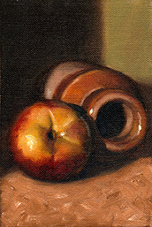 Oil painting of a nectarine beside a brown earthenware jar on its side.