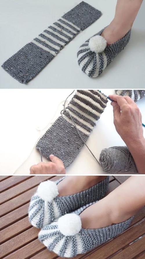Super Easy Slippers - Knitting Tutorial