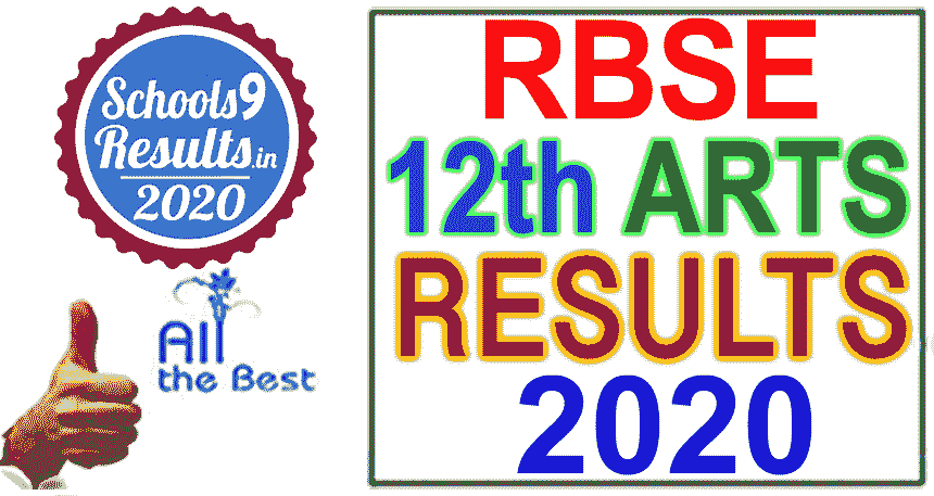 RBSE Board 12th Result 2020, 12th Arts Result Rajasthan