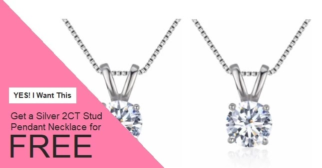 FREE Silver Stud Pendant 2CT Necklace