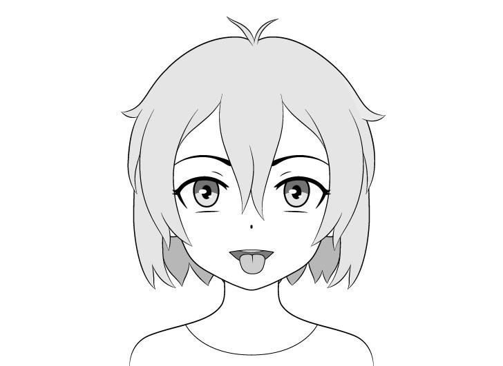 Gadis anime mulut terbuka lidah keluar menggambar