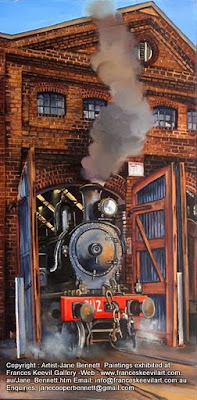 Plein air oil painting of 3112 steam locomotive steaming in the Large Erecting Shop, Eveleigh Railway Workshops painted by industrial heritage artist Jane Bennett