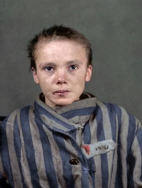 Czesława Kwoka, a 14-year-old prisoner who was in Auschwitz, color photos worldwartwo.filminspector.com