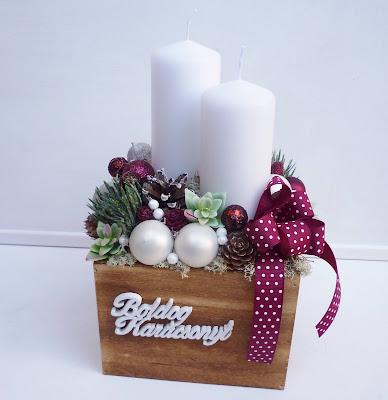 Karácsonyi asztaldísz fa dobozban