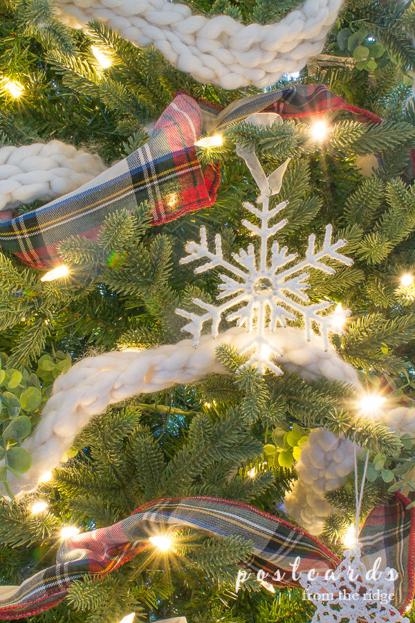 closeup view of artificial Christmas tree branches