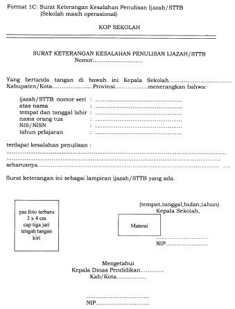 Format Surat Keterangan Kesalahan Penulisan Ijazah/STTB ...