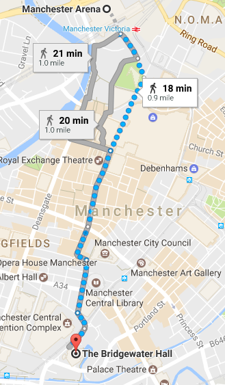The Bridgewater Hall to Manchester Arena Google Maps directions United Kingdom walking by foot Britain England concert venues