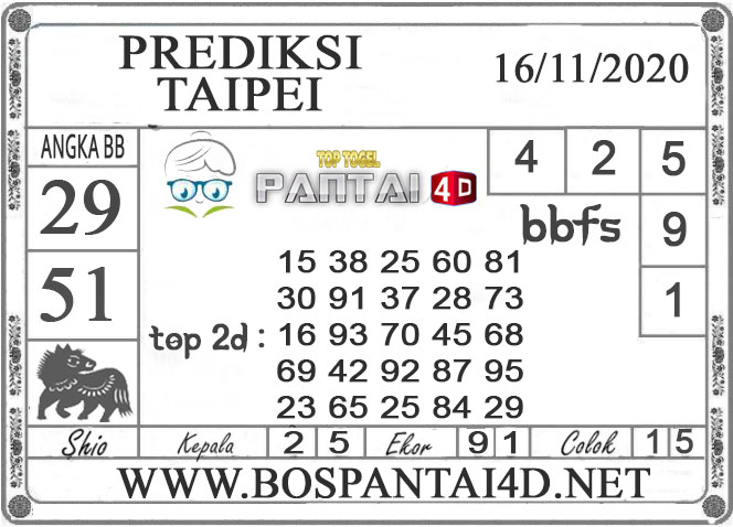 PREDIKSI TOGEL TAIPEI PANTAI4D 16 NOVEMBER 2020