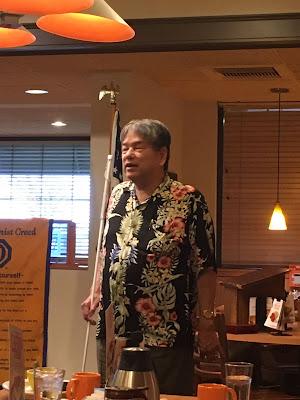 Curtis Chong addresses the Optimist Club at Village Inn February 19, 2020.