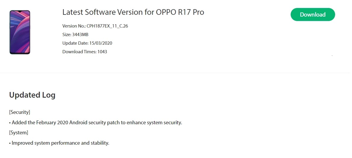 Oppo R17 Pro February 2020 Security Patch Update Rolling Out [CPH1877EX_11_C.26] - Realme Updates