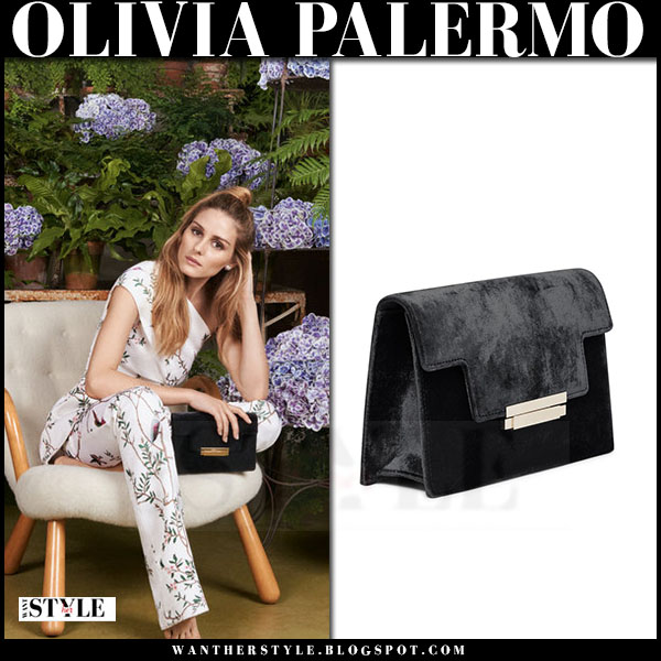 Olivia Palermo in Aerin Fall 2016 campaign with black velvet clutch what she wore