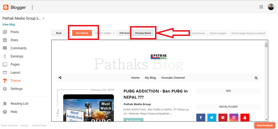 How To Upload Custom Template To Blogger, Preview the blogger template, anil pathak, pathaks blog