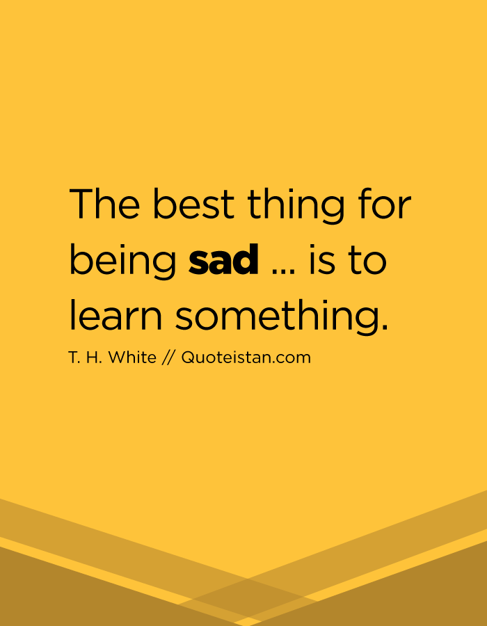 The best thing for being sad ... is to learn something.