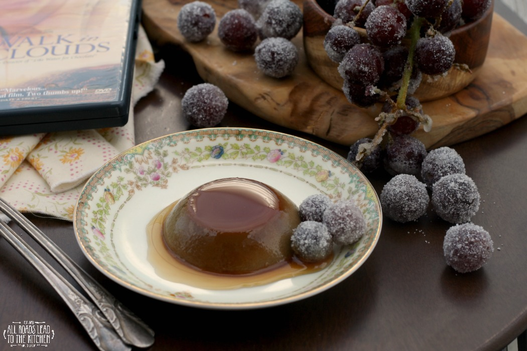 Chocolate Flan with Frosted Grapes