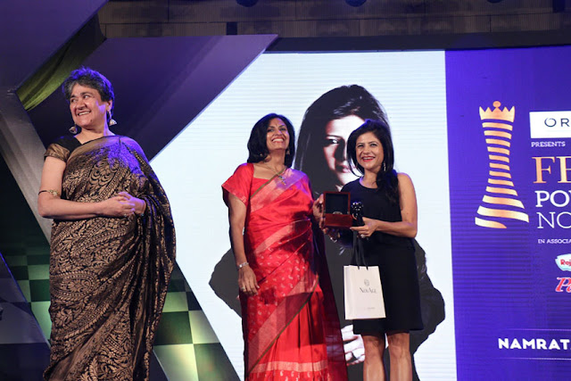 (From left) Ratan Kaul, eco warrior and Latika Thukral presenting the award to designer Namrata Joshipura at Femina Power List North 2017