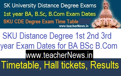 SKU Distance Degree 1st 2nd 3rd year Exam Dates Time table 2018-19 BA BSc B.Com Hall tickets, Results