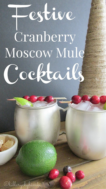 Festive Holiday Cocktail Idea - Cranberry Moscow Mules