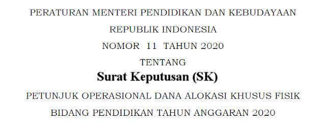 SK Kepanitiaan Rehab Sekolah Sumber Dana DAK Tahun 2020
