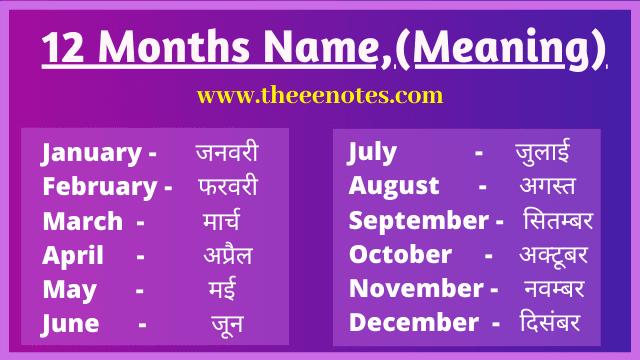 महीनो के नाम हिंदी और अंग्रेजी में