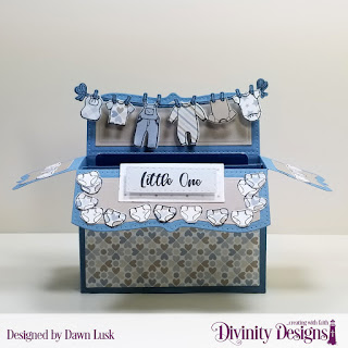 Divinity Designs Stamp/Die Duos: Baby Clothesline, Custom Dies: Surprise Box Wide, Double Stitched Rectangles, Rectangles, Paper Collection: Baby Boy