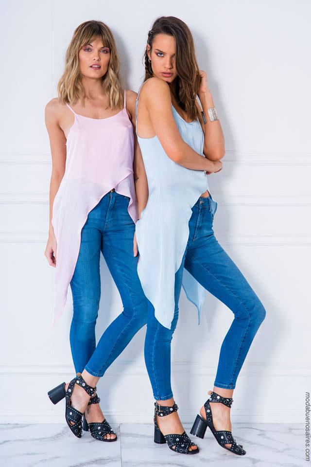 Moda mujer verano 2018 ropa de jean.
