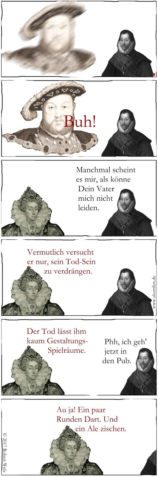satirisch-komische Comic-Collage mit historischen Figuren: Henry VIII. von England spukt als Gepenst. Pirat Francis Drake und Königin Elizabeth I. philosophieren