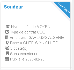 Employeur : SARL GSG ALGERIE Soudeur